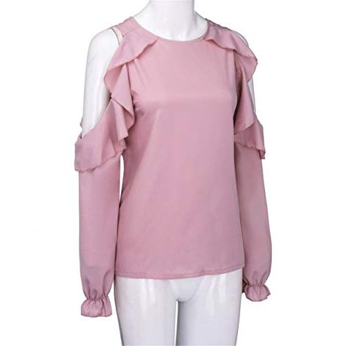 Ruffled Blouse, Londony Womens Shoulder Tunic Blouses Sleeved