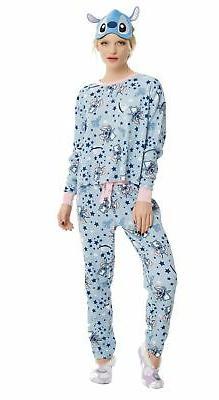 Disney's Stitch Women's Thermal Pajama set with Eye Mask