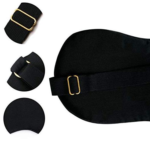 Silk Eye Mask, Black Out with Gel Puffy Relaxing, Massage.