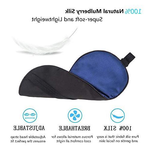Sleep Mask, ZGGCD Sleep Eye Mask for 100% Natural Mulberry Eye Shade Cover, Super Smooth Night Adjustable Strap for Men, Black & Blue