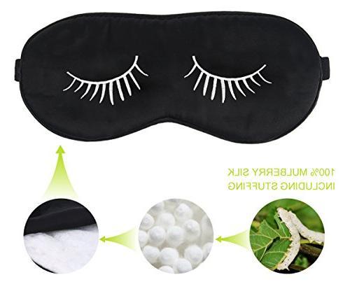 Fitglam Natural Mask with Eyelashes Free Ear Plugs, With White Eyelashes