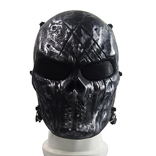 Annay Metal Army Mask Halloween Airsoft Gun and Masquerade Gray