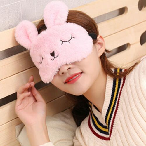Cute Eye Mask Soft Plush Cartoon Wink Rabbit Eye Cover Black