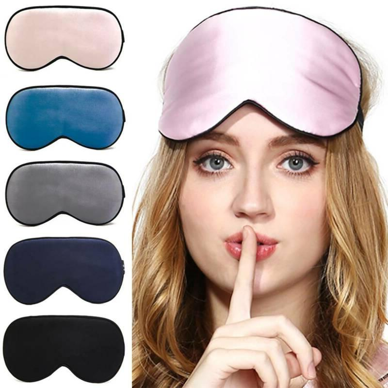 Women Mulberry Silk Satin Sleep Eye Mask Sleep Blindfold Bla
