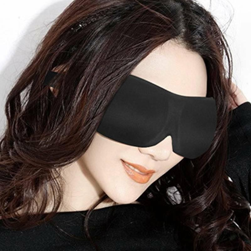Unisex Black Blindfold Travel Sleep Shade Cover