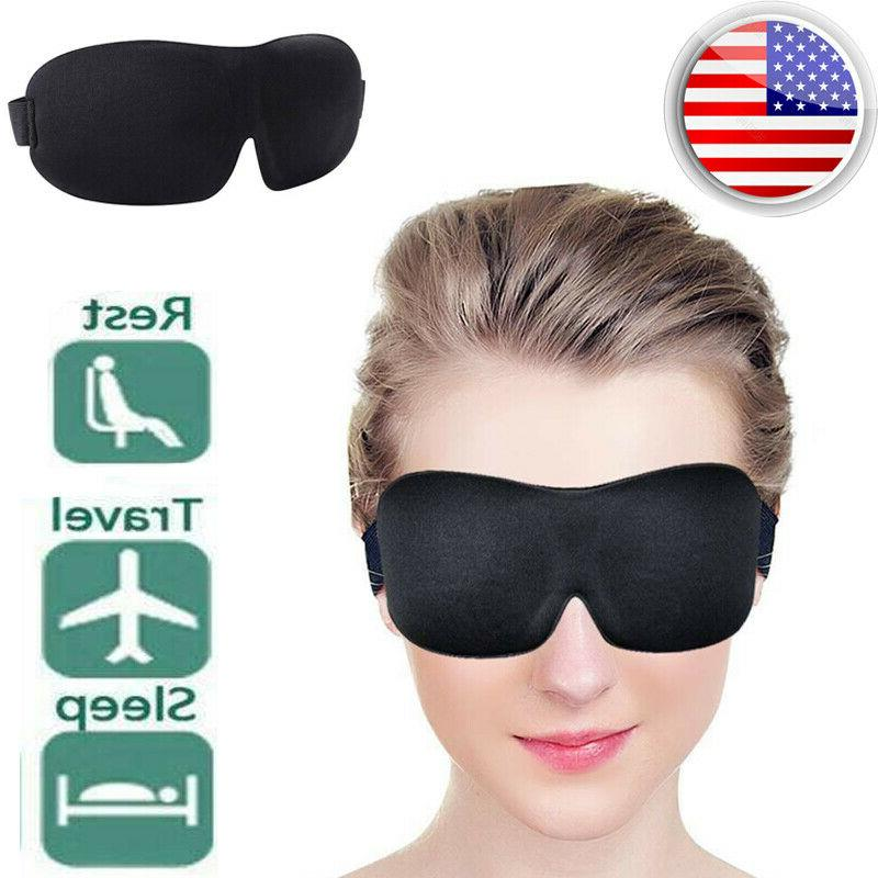 Unisex Black Blindfold 3D Mask Travel Sleep Shade