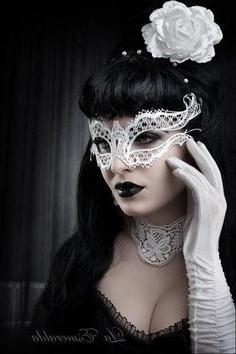 White Elegant Elana Laser Cut Venetian Masquerade Mask with