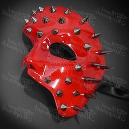 Men's Red Spiked Half Phantom Mask Halloween Unisex Masquera