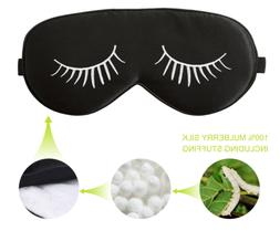 Fitglam Natural Silk Sleep Mask / Eye Mask with Eyelashes Pa