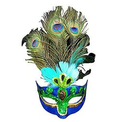 Peacock Feathers Masquerade Women Mask Costume Girl Half Fac