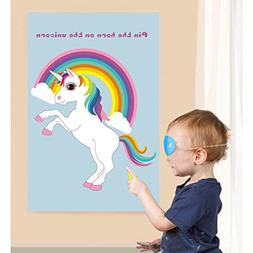 AerWo Large Pin The Horn on the Unicorn Party Game, Rainbow