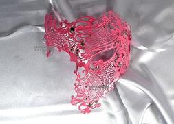 Pink Phantom Skull Laser Cut Venetian Masquerade Mask with R
