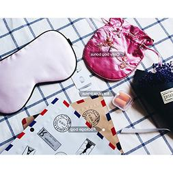 Pink Silk Sleep Mask Blindfold with Earplug & Bag for Women,