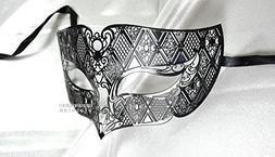 Men Plated Laser Cut Venetian Masquerade Mask - Filigree Met