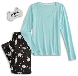 Polar Bear Pajamas Size Small Womens Set Top Pants Eye Mask