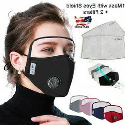 Reusable Cotton Face Mask w/ Eyes Shield & Air Breathing Val