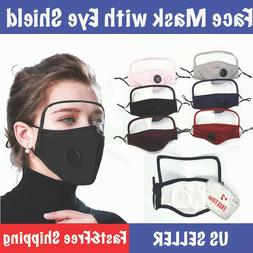 Reusable Cotton Face Mask With Eye Shield Cover, Vent, Filte