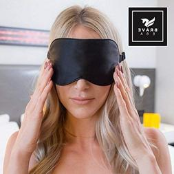 100% Silk Hypoallergenic Sleep Mask with Compact Travel Pouc
