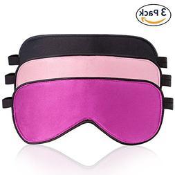 LIANSING 100% Silk Sleep Mask & Blindfold 3 Pack, Super-Smoo