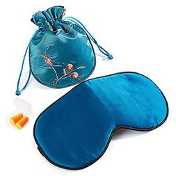 Silk Sleep Mask Blindfold with Earplug & Bag for Men and Wom
