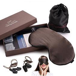 100% Natural Silk Sleep Mask & Blindfold, Blocks Light Large