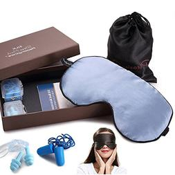 100% Natural Silk Sleep Mask & Blindfold, Blocks Light Large
