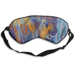 100% Silk Sleep Mask Eye Mask Bison Oil Painting Soft Eyesha