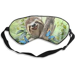 100% Silk Sleep Mask Eye Mask Cute Sloth Soft Eyeshade Blind