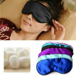 Silk Travel Sleep Eye Mask Cover Padded Blindfold Soft Silky