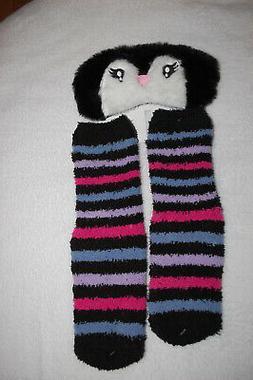 Sleep Eye Mask & Fuzzy Cozy House Socks PENGUIN FACE Black W