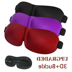 Sleep Mask 3 Pack, Upgraded 3D Contoured Blackout Eye Mask f