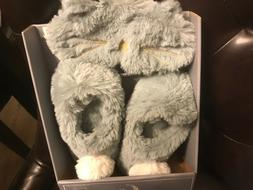 Pj couture slippers w/ eye mask gray size small