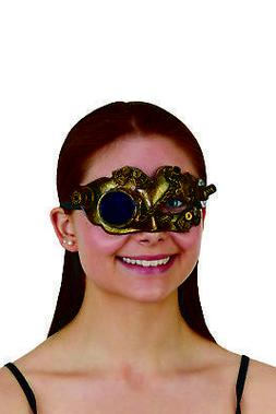 Steampunk Half Mask Eye Glass Monocle Brushed Gold Gears Fan