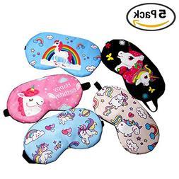 Unicorn Eye Masks 5 Packs Sleep Masks Cover Lightweight Blin