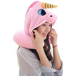 DPIST Unicorn Hooded Animal Travel Neck Pillow Polyester Nec
