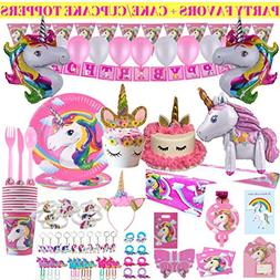 Unicorn Party Supplies - 197 pc Set With Unicorn Themed Part