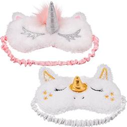 Maxdot 2 Pieces Unicorn Sleeping Mask Cute Unicorn Horn Plus