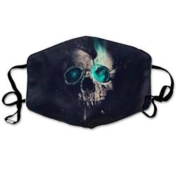 Hateone Unisex Unique Mouth Mask - Cool Skull Green Eyes Pol