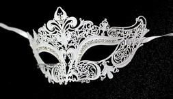 White Crown Laser Cut Venetian Masquerade Mask with Rhinesto