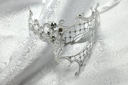 White Phantom Laser Cut Venetian Masquerade Mask with Rhines