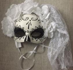 Women's  Day Of The Dead Halloween Eye Mask , Costume W/ Vei